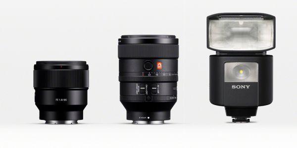 From L-R: The Sony SEL85F18; Sony SEL 100F28GM; and Sony HVL-F45RM. <br> Image Source: photoscala.de