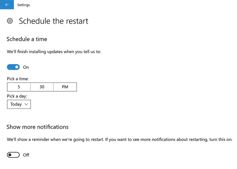 Select when you want an update to install. (Image source: Microsoft.)