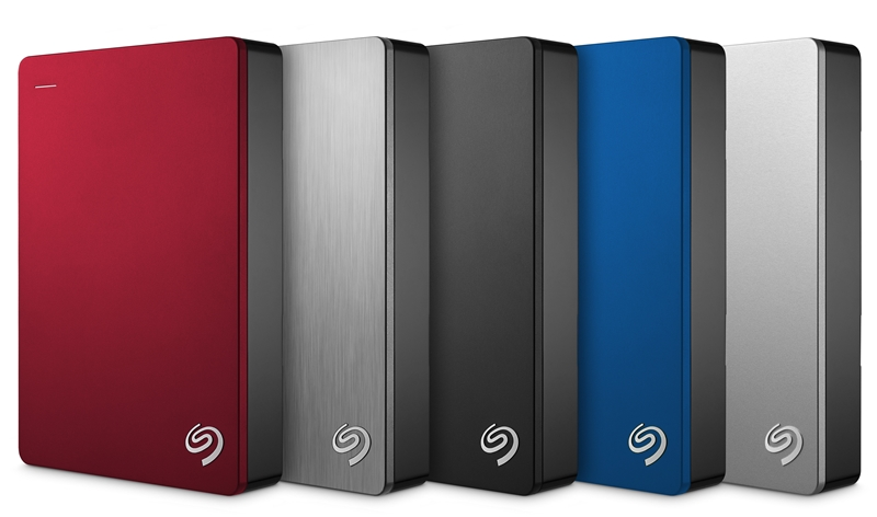 The entire range of Seagate Backup Plus Portable 5TB HDDs. (Image source: Seagate)