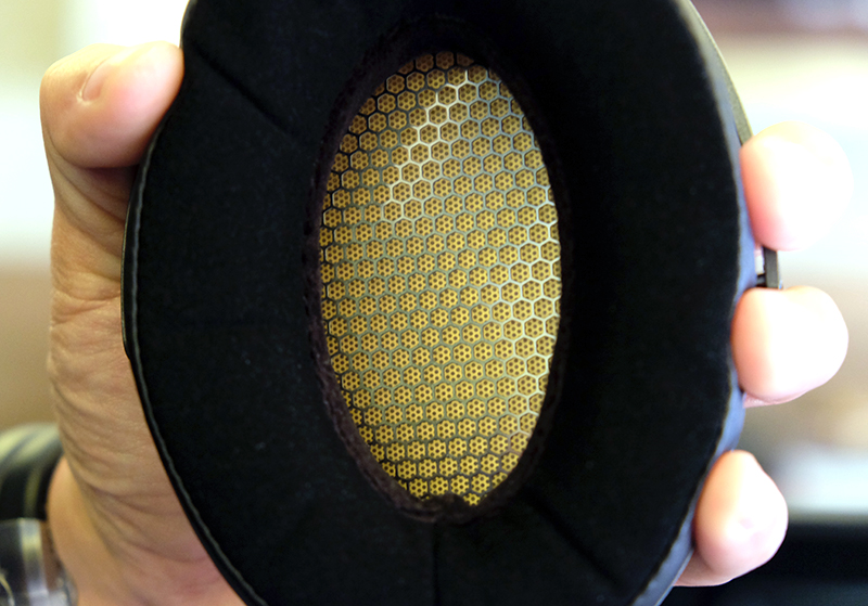 The platinum-coated diaphragm resides within. The ear cups are super plush.