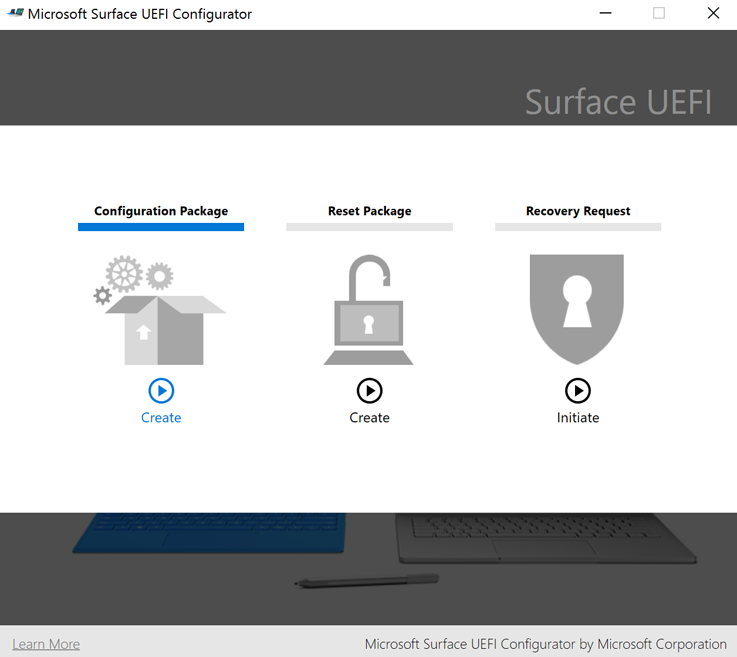 Microsoft Surface UEFI Configurator, the primary workspace of SEMM. (Image source: Microsoft)