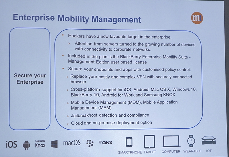 The Enterprise Mobility Management will allow the corporate IT team to manage the devices that are using the M1 Enterprise Mobile plans.