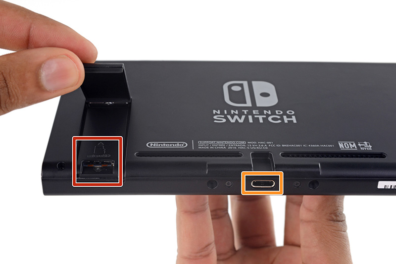 The Nintendo Switch console uses USB-C (that receptacle in the middle). (Image source: iFixit.)