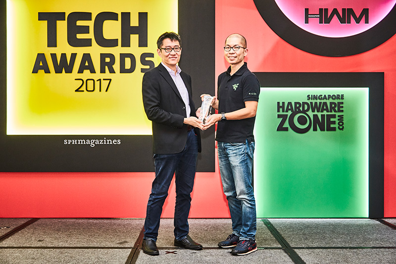 Our readers' said their favorite gaming keyboard and mouse maker is Razer. Accepting the award here is Mr. Ian Tan, Global Marketing Director at Razer Inc.