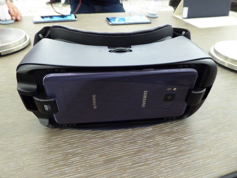 Front view of the Gear VR with a Galaxy S8 attached. Remember, the S8, S8+ and all new accessories/devices launched with it now use USB Type-C connectors.
