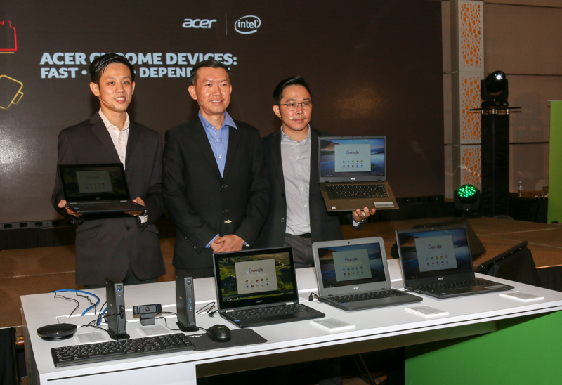 FromL-R: Eddy Tee, Lead of Enterprise and SMB, Acer Malaysia; Chan Weng Hong, General Manager, Products, Sales, and Marketing, Acer Malaysia and Andy Tan, Commercial Product Manager, Acer Malaysia during the launch of the Acer Chromebooks and Chromeboxes earlier today.