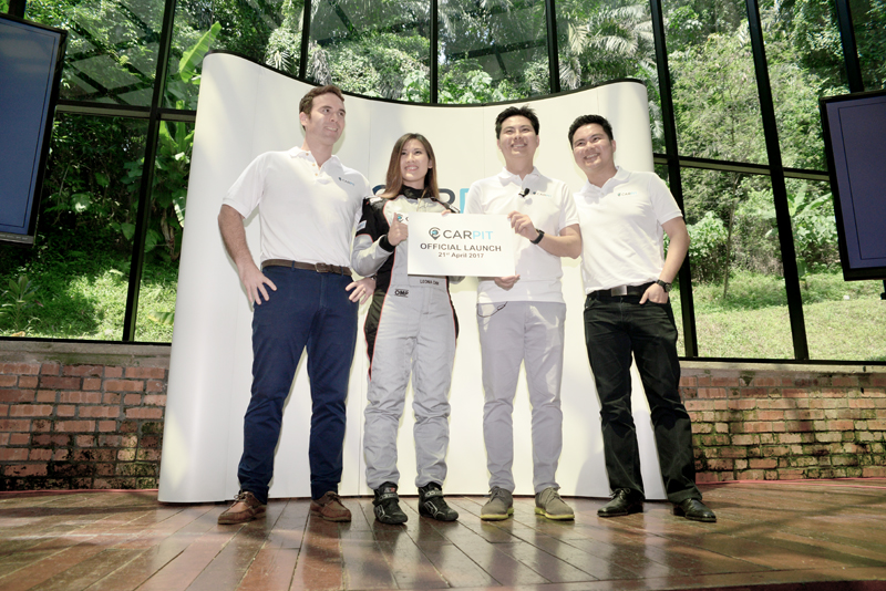 From L-R: Nathanael Noiraud, COO, Carpit Malaysia; Leona Chin, Celebrity racer; Tai Qisheng, Co-founder and CEO, Carpit Malaysia; and Tai Qiyao, Co-founder, Carpit Malaysia.