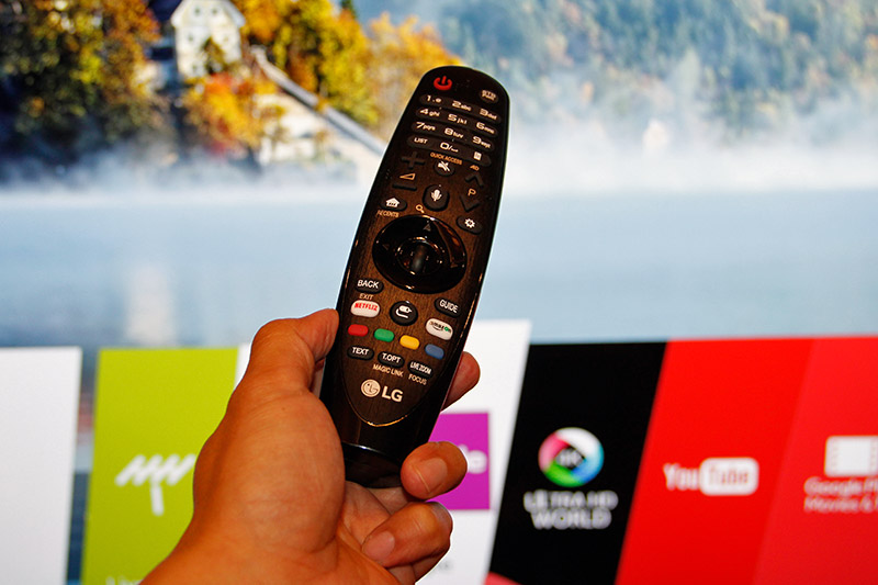 The Super UHD TVs use the same black Magic Remote as the C7T OLED TV.