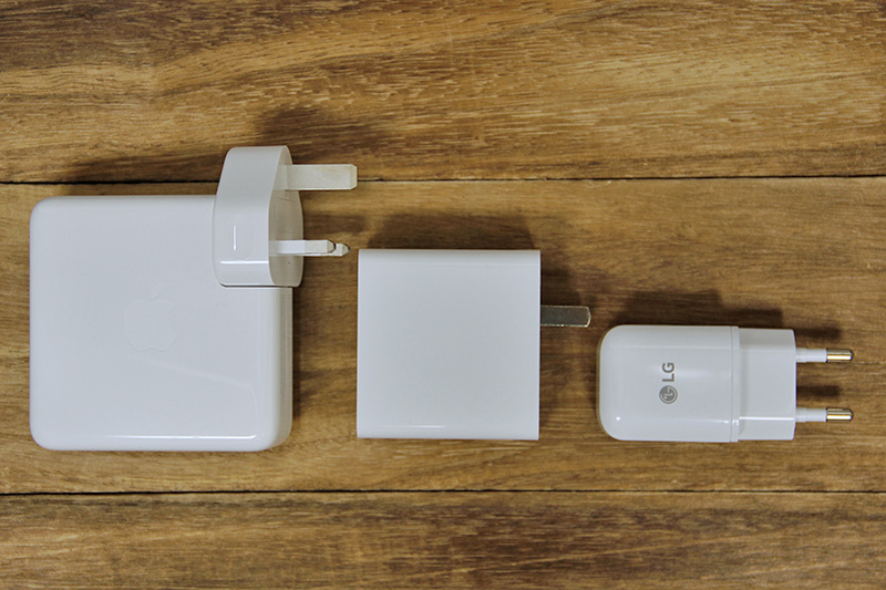 Left to right: Apple 87W USB-C adapter for MacBook Pros, Xiaomi 45W USB-C adapter, LG Fast Charge QC3.0 adapter.