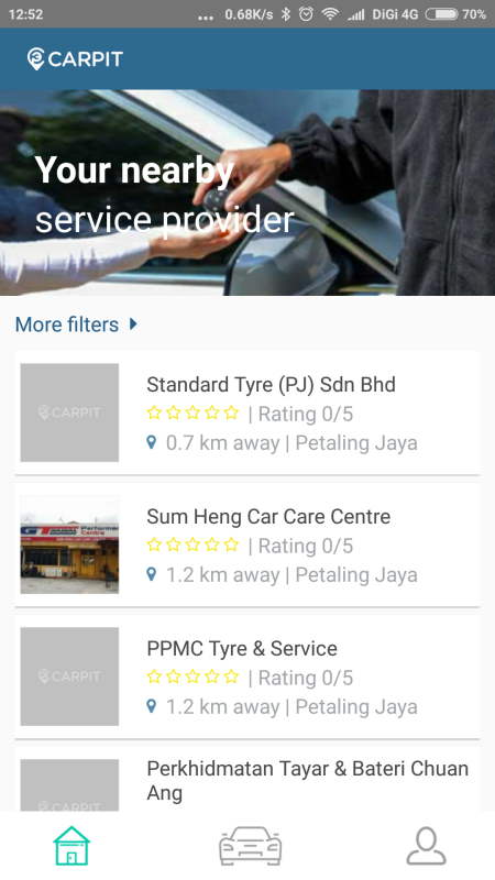 Once you've filled the details of your car, you can choose from numerous service providers near your location.