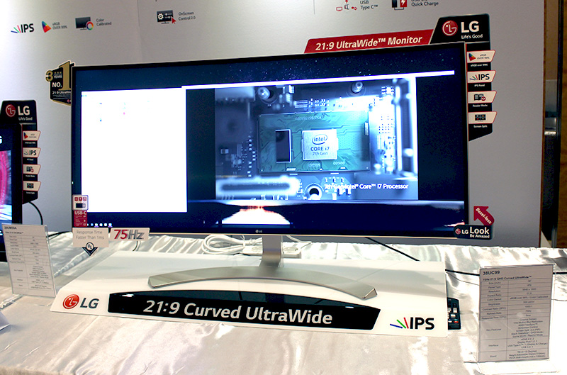 The 38UC999 features a large 38-inch display and supports a resolution of 3,840 x 1,600 pixels.