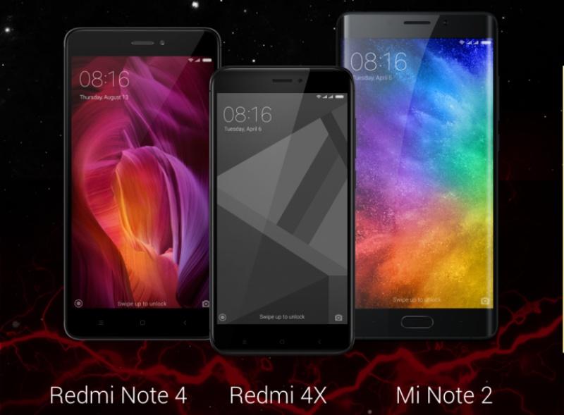 Xiaomi Redmi 4X, Mi Note 2 and 64GB Redmi Note 4 all