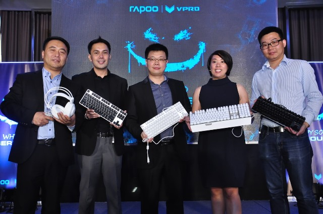 Oliver Shi, Rapoo Overseas Managing Director; Lem Estiva, Rapoo PH Retail Sales Manager; Johnson Zhang,  Rapoo Regional Sales Director; Aileen Chua Tecson Rapoo Phil Country Manager; and Kyle Guo Rapoo R&D Director