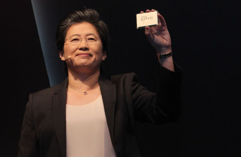 Dr. Lisa Su, President and CEO of AMD. In her hand is the new EPYC workstation CPU.