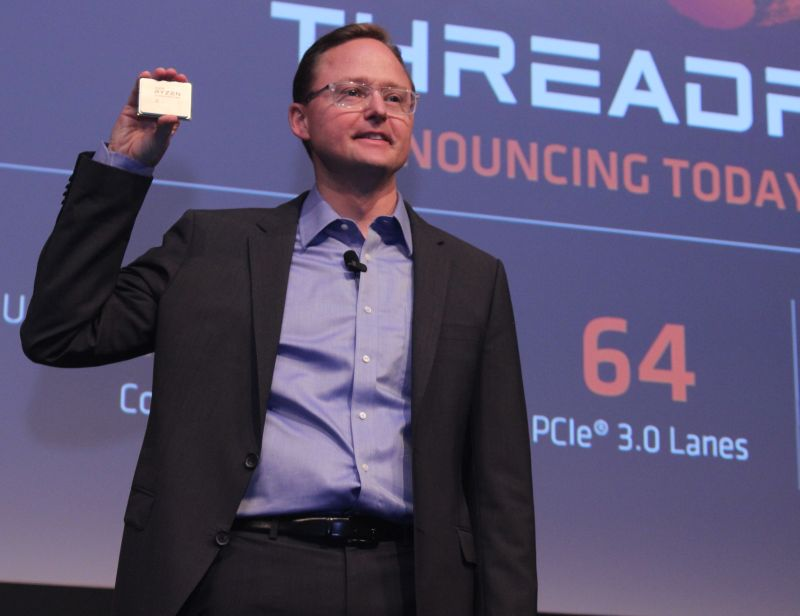 Jim Anderson, Senior Vice President and General manager, Computing and Graphics, AMD, holding the new Ryzen Threadripper CPU.