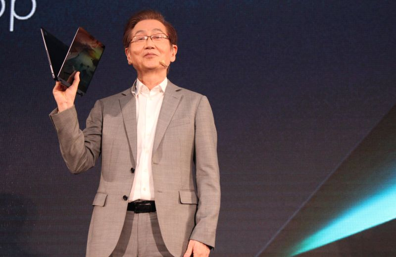 Jonney Shih, Chairman of ASUS, at the company's press launch today. In his hands in the ZenBook Flip S.