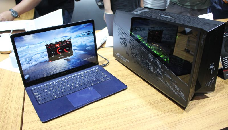 The ZenBook 3 Deluxe, paired with the ASUS ROG XG Station 2 external graphics enclosure.