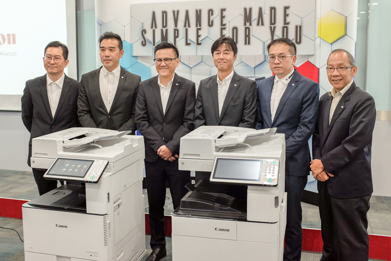 From L-R: Rodney Fong, Marketing Manager, Business Imaging Solution, Canon Marketing (Malaysia) Sdn. Bhd.; Eric Er, Senior Marketing Manager, Business Imaging Solution, Canon Marketing (Malaysia) Sdn. Bhd.; Andrew Koh, President and Chief Executive Officer, Canon Marketing (Malaysia) Sdn. Bhd.; Masato Yoshiie, Senior Director, Business Imaging Solution and Professional Printing Products, Canon Marketing (Malaysia) Sdn. Bhd.; Alvin Lee, Head, Business Imaging Solution, Canon Marketing (Malaysia) Sdn. Bhd. and Donny Ling, Head, Market Engineering, Canon Marketing (Malaysia) Sdn. Bhd during the launch of the imageRUNNER ADVANCE iR-ADV C3500i and iR-ADV 4500i series earlier today.