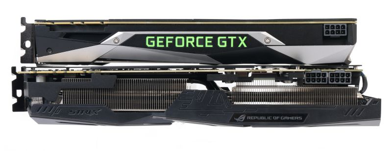 Thickness comparison: The NVIDIA GeForce GTX 1080 Founders Edition, and the ASUS ROG Strix GeForce GTX 1080 Ti OC Edition at the bottom.