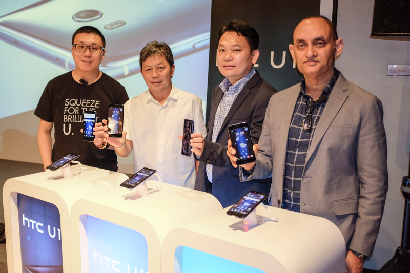 From L-R: Wayne Tang, Associate Director, HTC South Asia; Steven Tan, Dynamics Distribution; Cheong Wah Tong, Country Manager, HTC Malaysia; and Faisal Siddiqui, President, HTC South Asia during the launch of the HTC U11 earlier today.