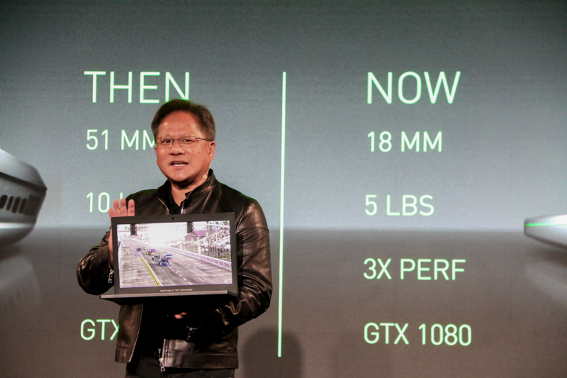 Jen-Hsun Huang, CEO of NVIDIA, announcing the Max-Q design at Computex 2017.