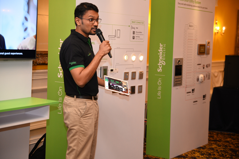 A successful implementation of the EcoStruxure is pictured here, where a patron of a hotel can control various aspects of his or her room using a tablet.