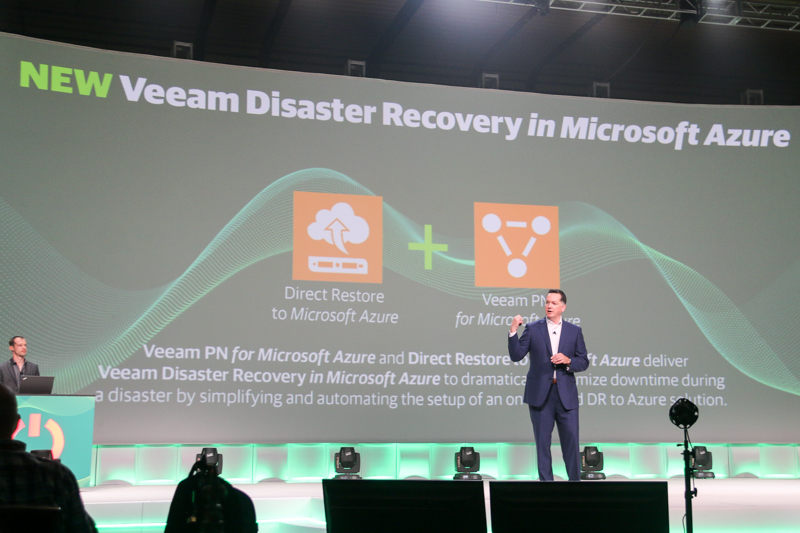 Paul Mattes, Vice President, Global Cloud Group at Veeam introducing the new cloud disaster recovery solutions during the final day of VeeamON 2017.