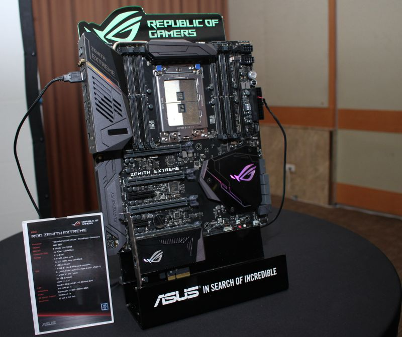 ASUS saved the best for last: the Zenith Extreme, the company' X399 chipset motherboard, designed to house AMD's upcoming Threadripper CPU.