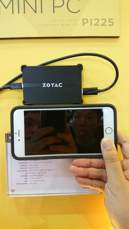 Here is a size comparison between the ZBox and an Apple iPhone.