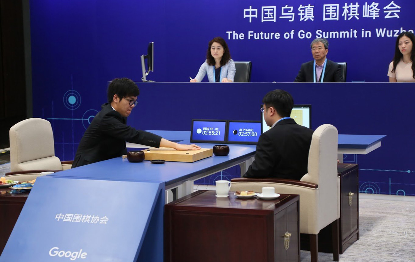 "A previous version of the AlphaGo called AlphaGo ""Master"" defeated the best human Go player Ke Jie 3-0. But even it is no match for AlphaGo Zero."