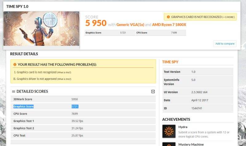 The 3DMark Time Spy benchmark score seen here lists down a 'Generic VGA' with specs consistent with AMD's upcoming Radeon RX Vega. <br> Image source: Guru3D.