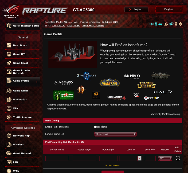 Game Profile makes it easy for users to setup port forwarding for games.