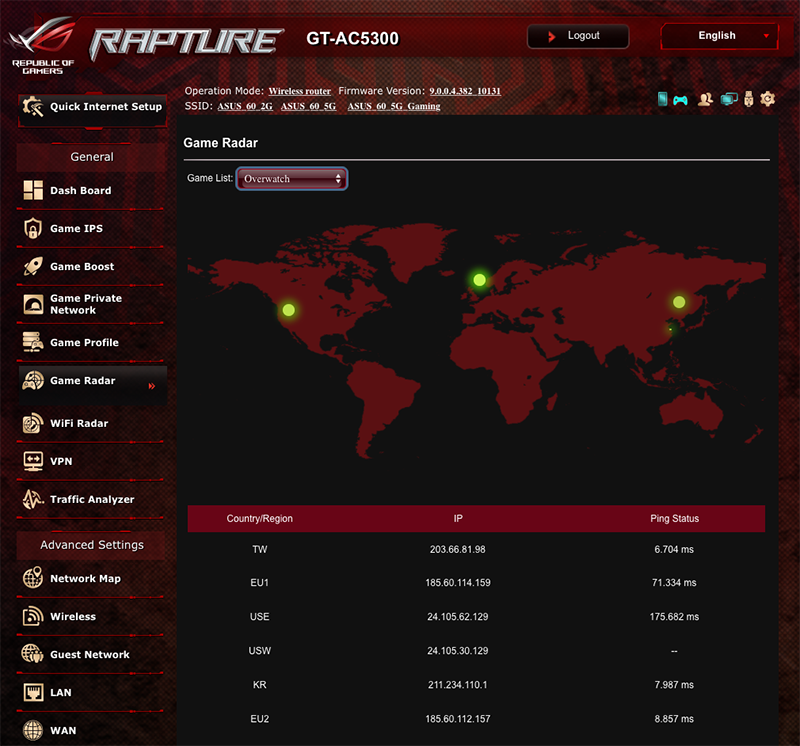 Game Radar shows you the latency of popular game servers around the world.