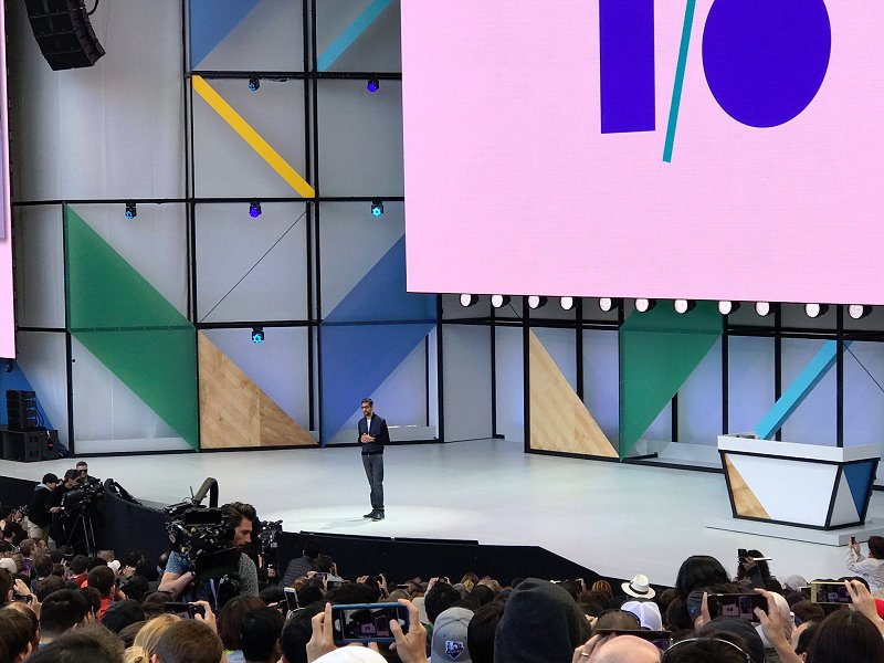 Google's CEO, Sundar Pichai, giving the opening speech to Google I/O 2017.