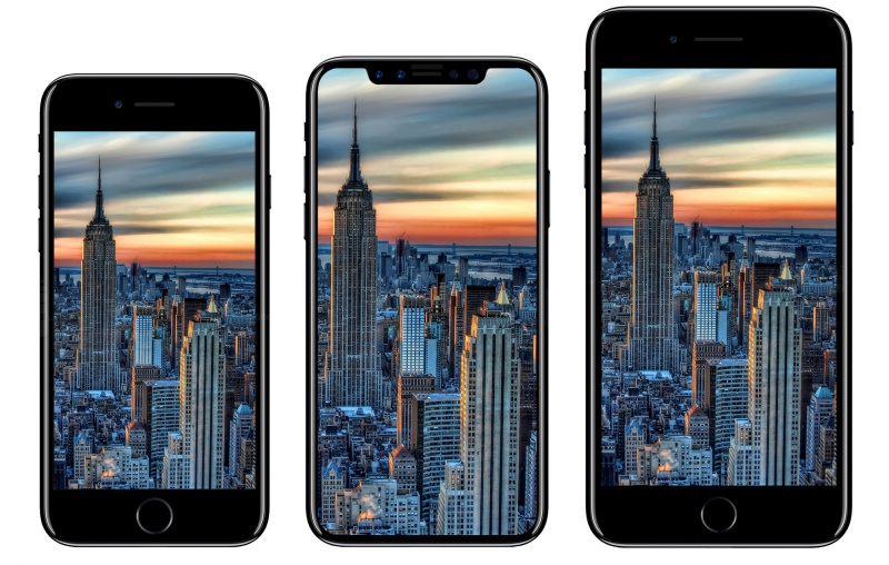 From left to right: Apple iPhone 7, Apple iPhone 8, Apple iPhone 7 Plus. (Image source: iDROPNEWS.)