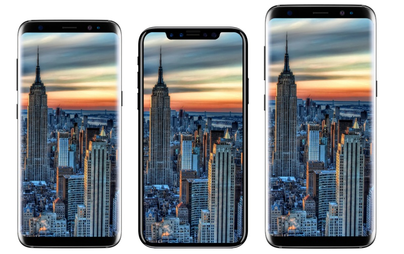 From left to right: Samsung Galaxy S8, Apple iPhone 8, Samsung Galaxy S8+. <br> Image source: iDROPNEWS