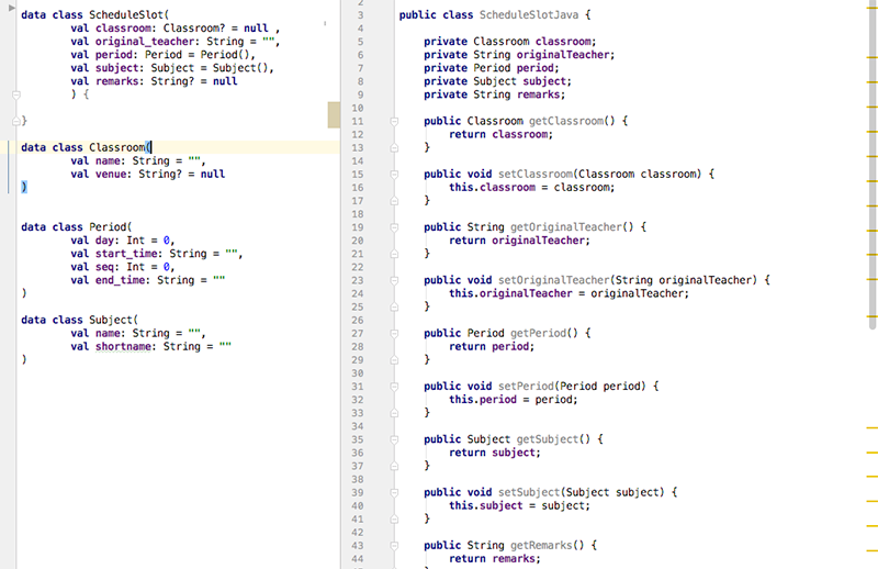 Left: Kotlin. Right: Java. Even a layman would agree that Java is too verbose and laborious.