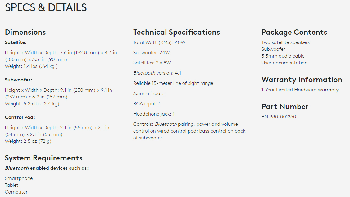 Logitech Z337 specifications (open in new window to enlarge).