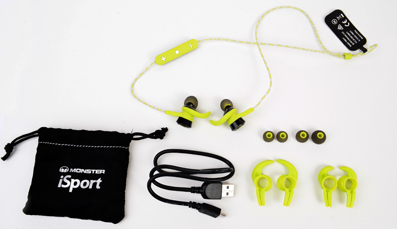 Bundled with the Monster iSport Victory are a carrying pouch, Micro-USB cable, and two sets of ear hooks and ear tips, all of varying sizes.