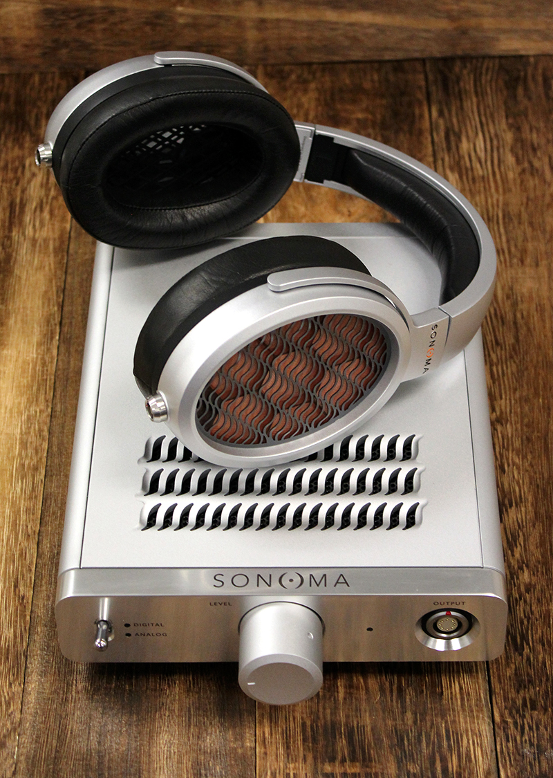 The Sonoma Model One headphone system is one of the few headphones in the world to make use of electrostatic transducers.