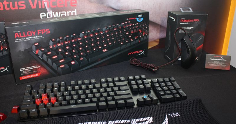The Kingston HyperX Alloy FPS mechanical gaming keyboard, and the HyperX PulseFire FPS gaming mouse. Seen in this picture is the Allow FPS variant with the numpad.