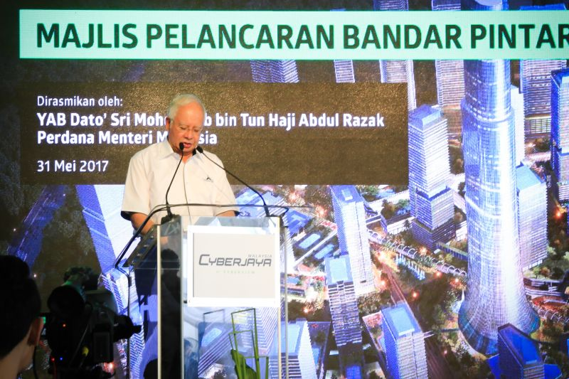 Dato' Sri Najib at the Cyberjaya Smart City Launch event held in conjunction with its 20th year anniversary. <br>Image source: Setia Haruman Sdn Bhd.