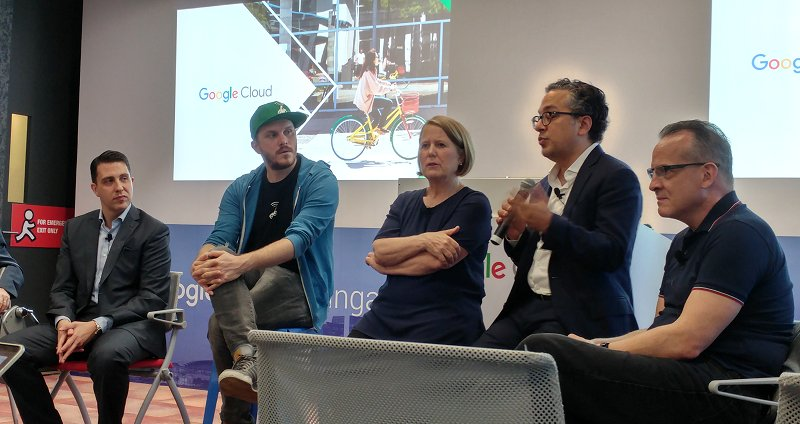 At today's GCP Singapore Region launch (left to right): Richard Harshman, MD of APAC Google Cloud; Piotr Jakubowski, CMO of Go-Jek; Diane Greene, Chief of Google Cloud; Tariq M.Shaukat, President of Google Cloud Customers; and Jordan Dea-Mattson, VP of Engineering at Carousell.