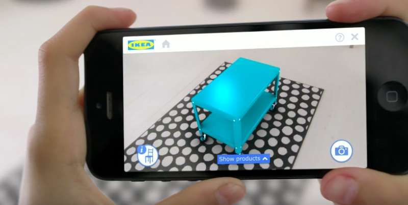 """Screenshot taken from Ikea's YouTube video on """"Place IKEA furniture in your home with augmented reality"""""""