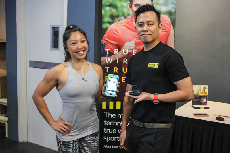 From L-R: Linora Low, Radio DJ and Fitness Personality together with KC Yap, Country Manager, Jabra Malaysia, during the launch of the Jabra Elite Sport earlier today.