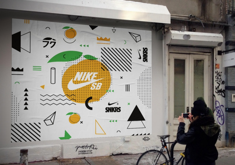 Special SNKRS posters, inspired by the Fuku menu and pasted up outside all  Momofuku restaurants