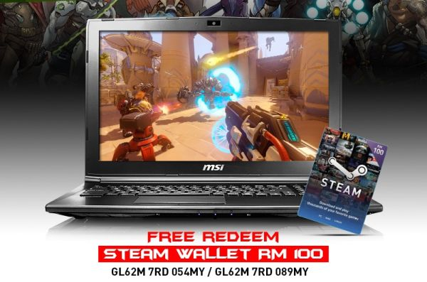 When you buy either the GL62M-089MY or the GL62M-054MY, you will receive a RM100 Steam voucher, just in time for the Steam summer sale. <br>Image source: MSI.