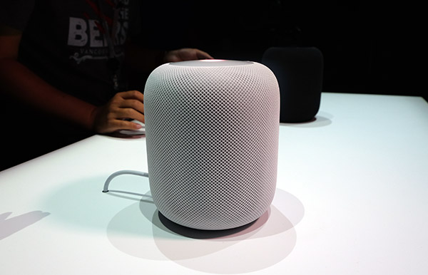The HomePod is compact and looks simple but futuristic.
