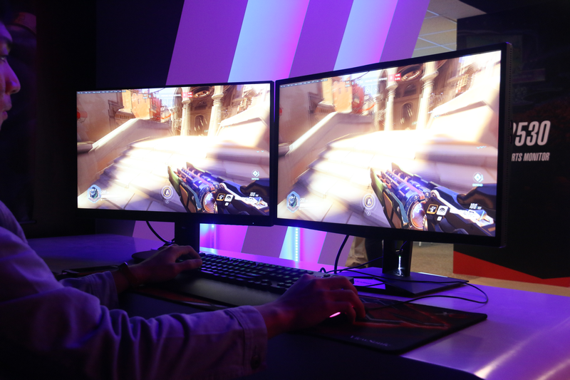 The G-SYNC-equipped XG2703-GS (right) gaming monitor.