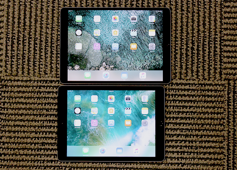 The new 10.5-inch iPad Pro is only very slightly larger than the new 9.7-inch iPad (2017).
